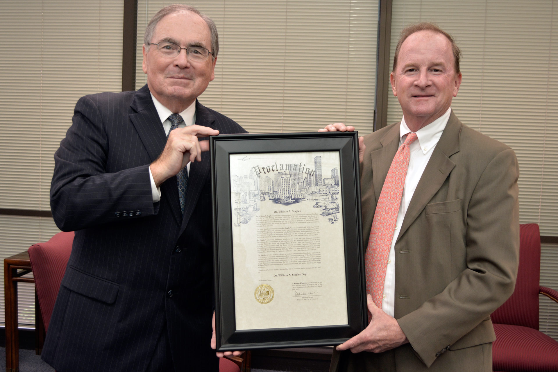 Houston honors UHCL's retiring president