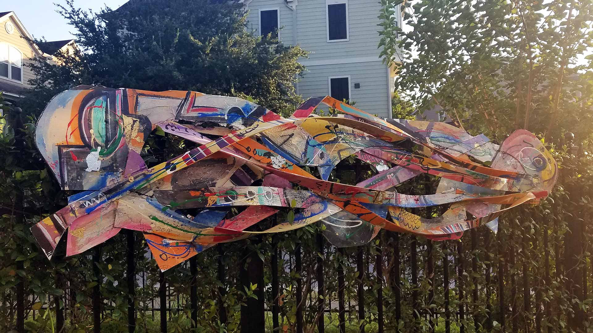 Exhibition features indoor, outdoor works of noted Houston upcycling artist